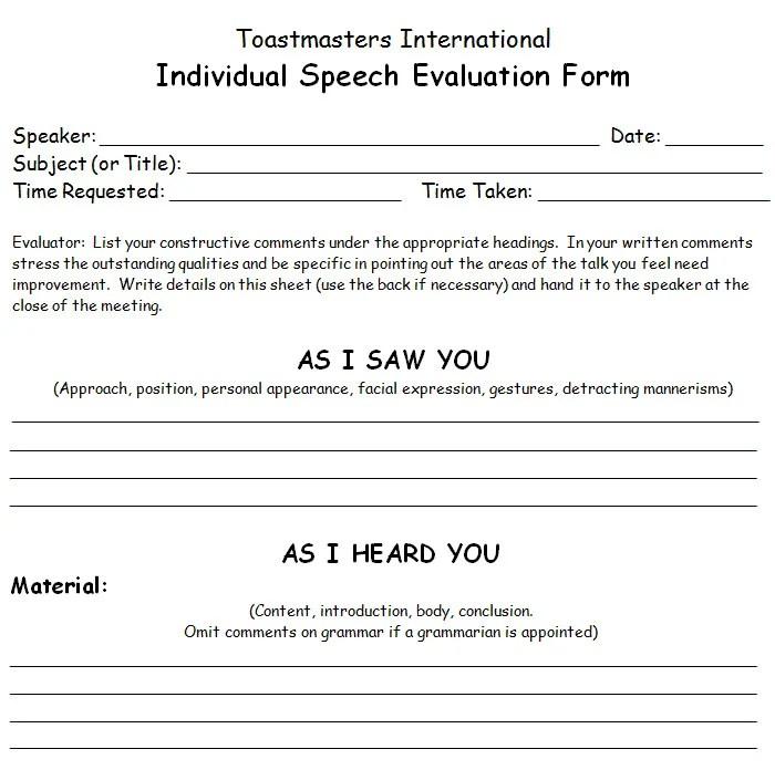 toastmasters speech evaluation form - Onwebioinnovate