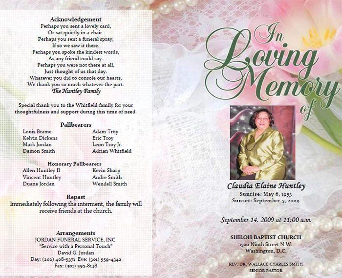 memorial service program examples