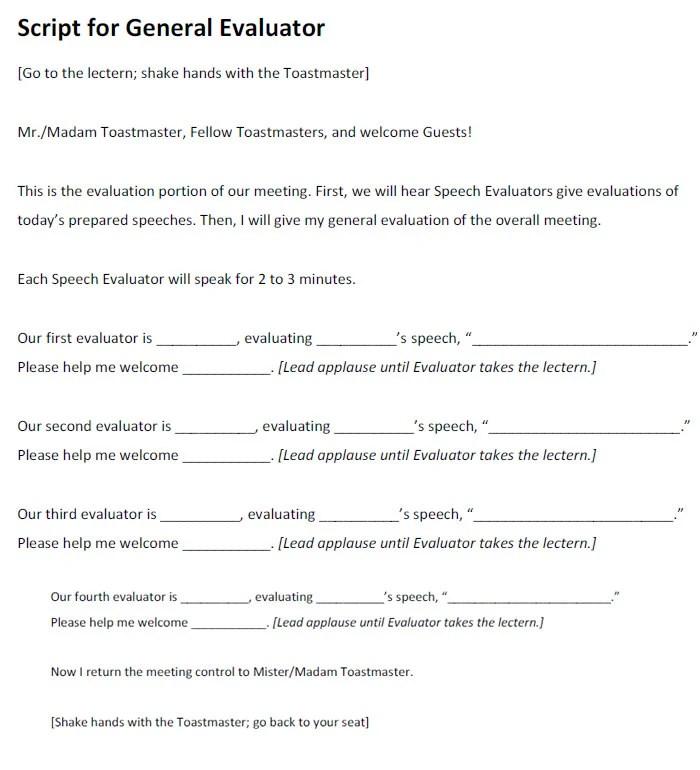 Toastmaster Evaluation Template \u2013 20+ Free Word, PDF Documents
