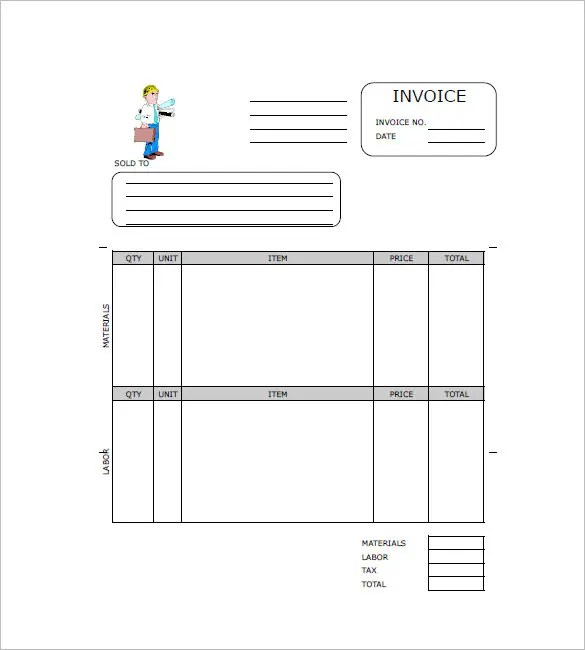 Contractor Invoices Cis Invoice Template Subcontractor From