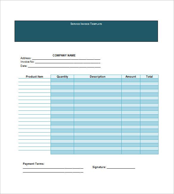 Service Invoice Templates \u2013 11+ Free Word, Excel, PDF Format