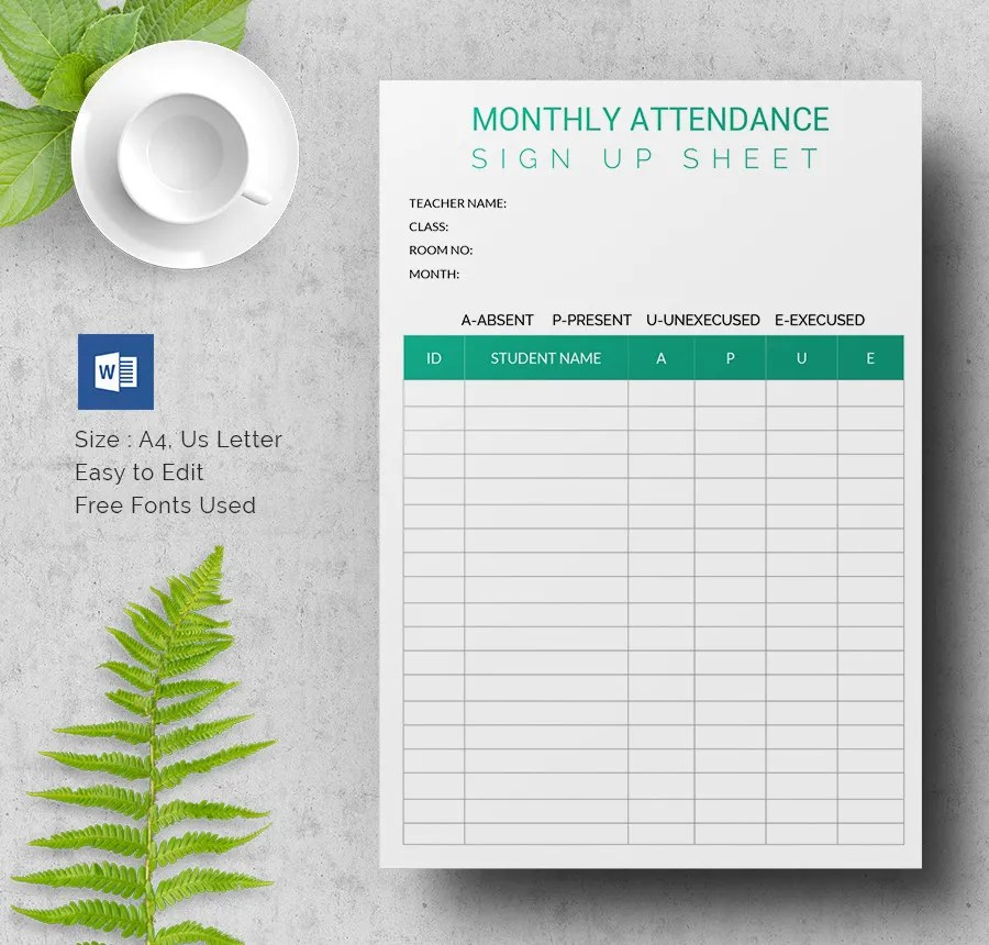 Sign Up Sheets - 60+ Free Word, Excel, PDF Documents Download - attendance sign in sheet