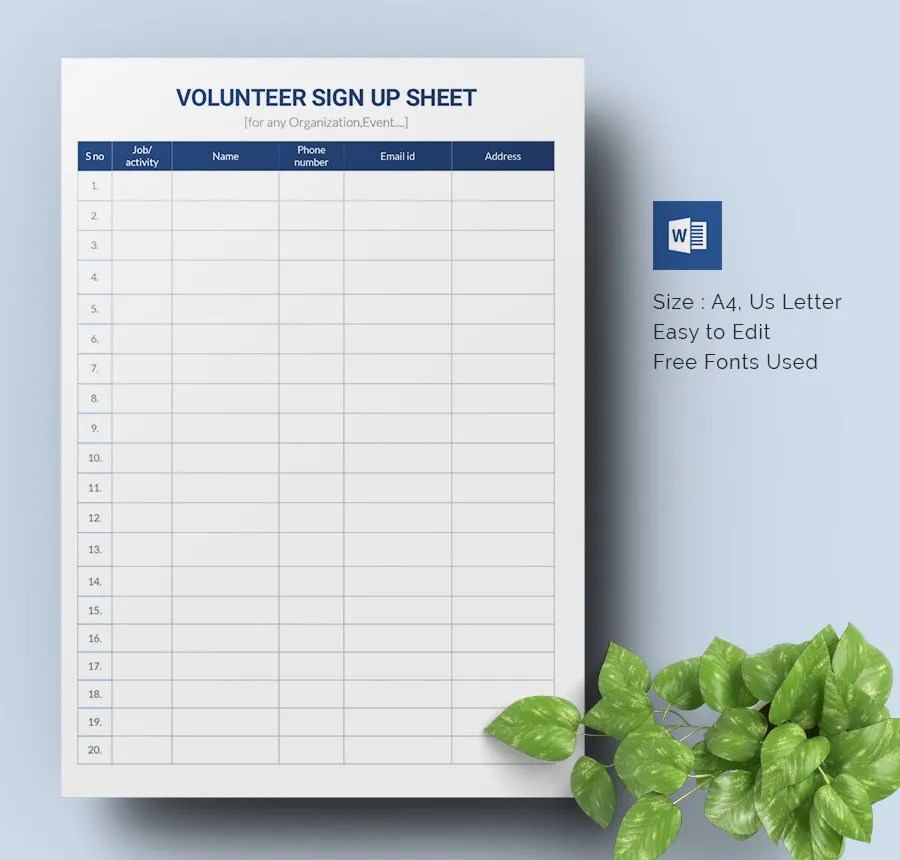 Sign Up Sheets - 60+ Free Word, Excel, PDF Documents Download - sample sign up sheet