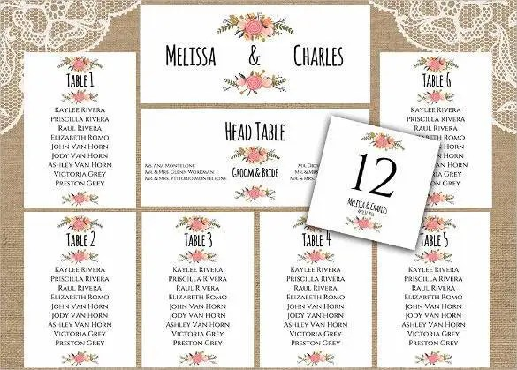 34+ Wedding Seating Chart Templates - PDF, DOC Free  Premium