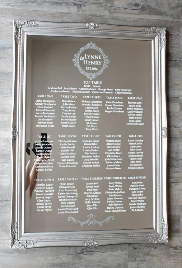 wedding chart template