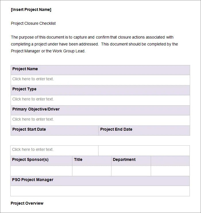 Project Checklist Template - 11+ Free Word, PDF Documents Download