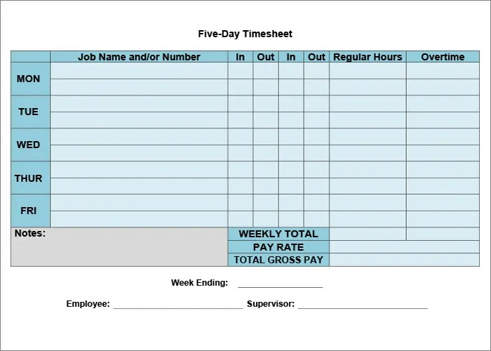 60+ Sample Timesheet Templates - PDF, DOC, Excel Free  Premium - daily timesheet template