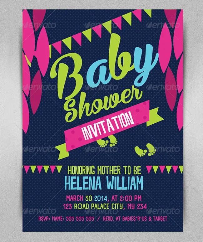 Baby Shower Invitation Template - 29+ Free PSD, Vector EPS, AI - baby shower flyer template free