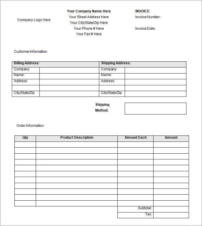 Blank Invoice Template Related For Blank Invoice Template Pdf Blank - blank invoice form free