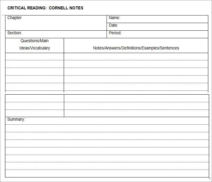 Cornell Notes Template - 51+ Free Word, PDF Format Download Free - Notes Template Word