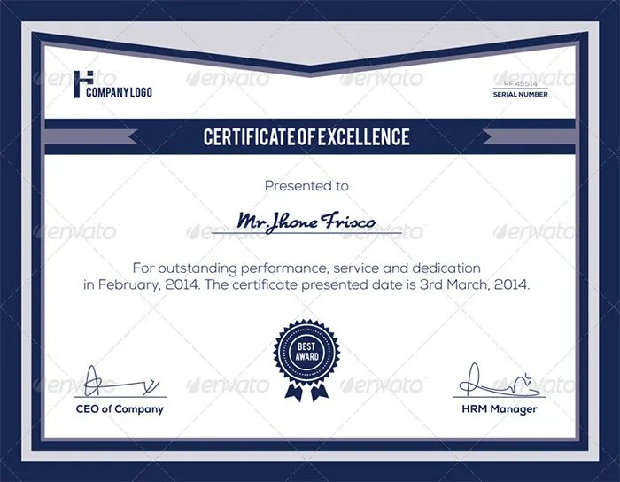 Certificate Of Appreciation Template Psd Free Download Example
