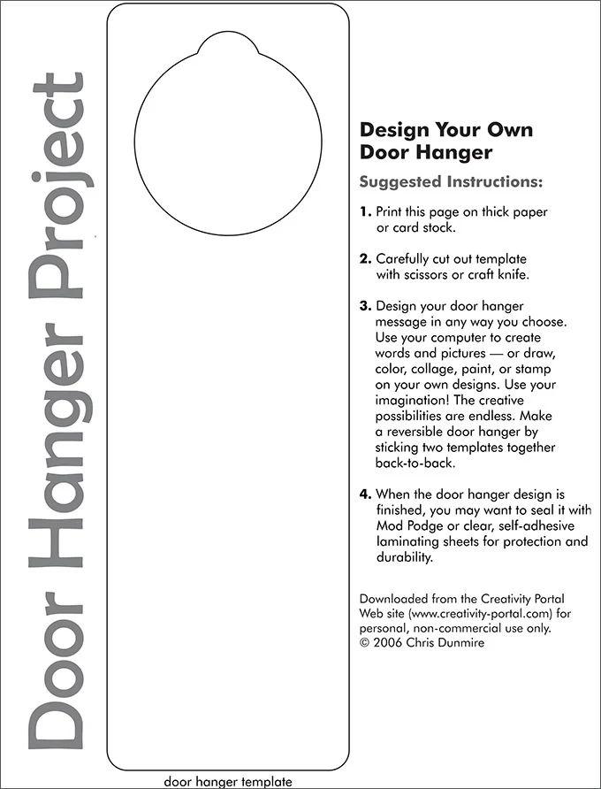 free door hanger templates