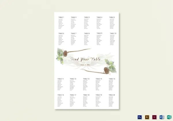 34+ Wedding Seating Chart Templates - PDF, DOC Free  Premium - wedding template