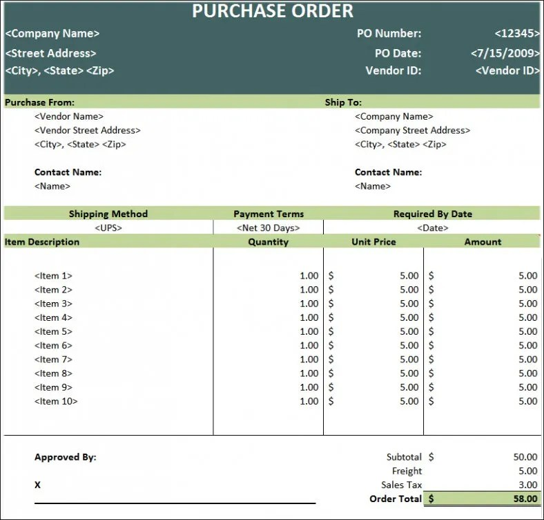 Purchase Order Template - Free Templates Free  Premium Templates - free purchase order template