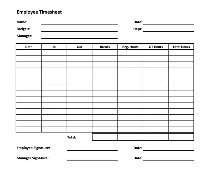 timesheets templates - Towerssconstruction