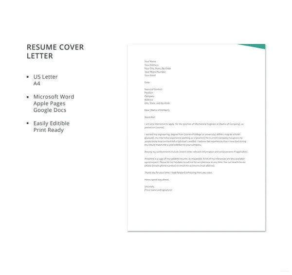 Resume Cover Letter Template \u2013 17+ Free Word, Excel, PDF Documents