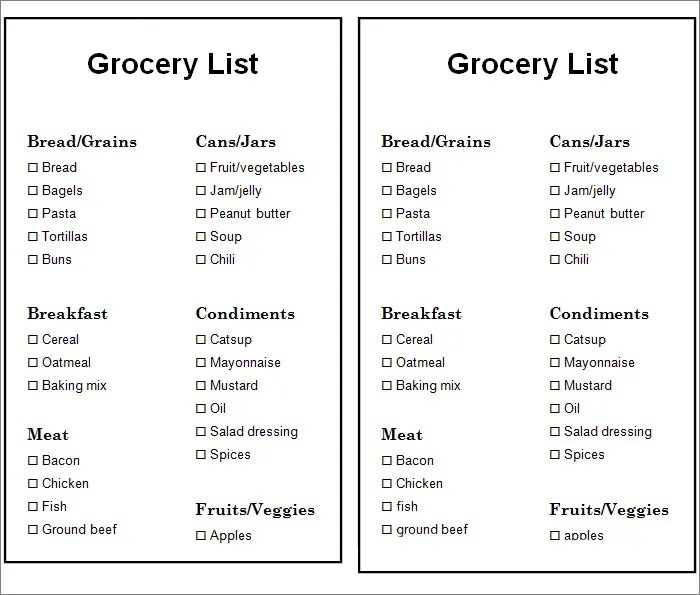 Grocery List Template - 7+ Free Word, PDF Documents Download - printable grocery list template