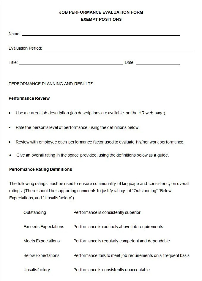 5 Performance Review Templates - Free Sample, Example, Format - job performance evaluation form templates