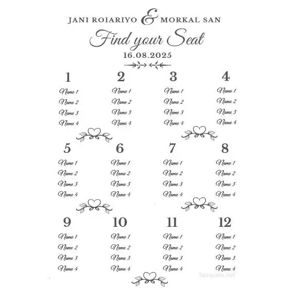 24+ Wedding Seating Charts Templates - Modern, Luxury, Vintage