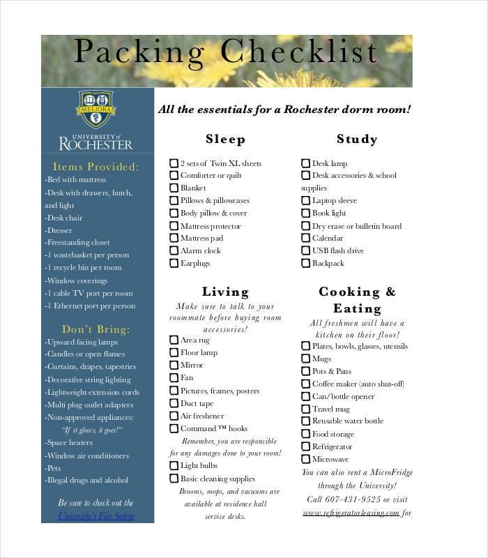 24+ Packing List Templates - PDF, DOC, Excel Free  Premium Templates