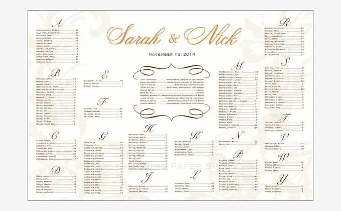 seating chart wedding template - Ozilalmanoof - wedding charts