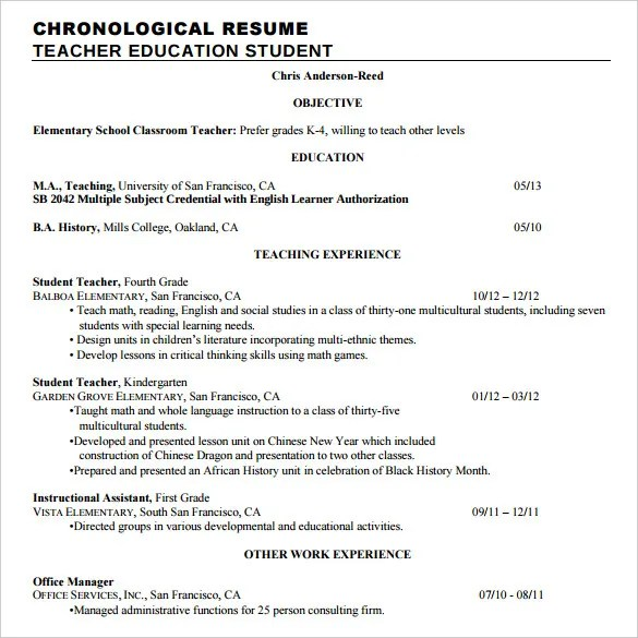 Chronological Resume Template - 23+ Free Samples, Examples, Format - reverse chronological order resume
