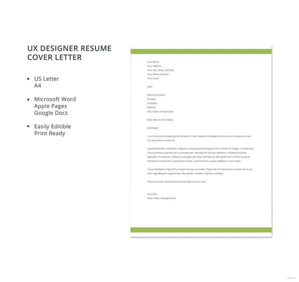 Resume Cover Letter Template \u2013 17+ Free Word, Excel, PDF Documents - resume letter template