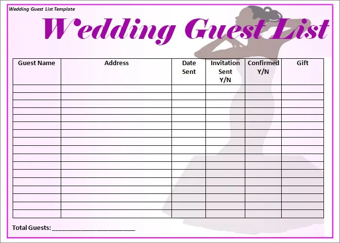 Wedding Guest List Template - 6+ Free Sample, Example, Format - guest list sample