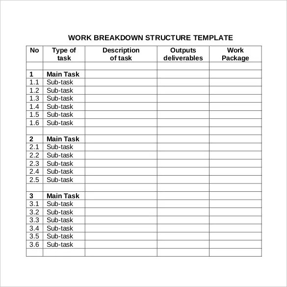 9+ Work Breakdown Structure Template Free  Premium Templates - wbs template excel