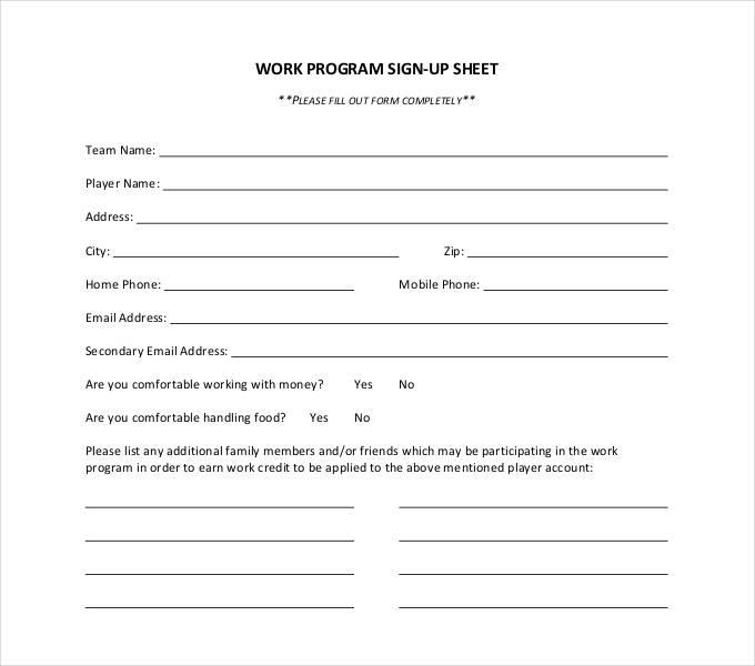 generic sign up sheet