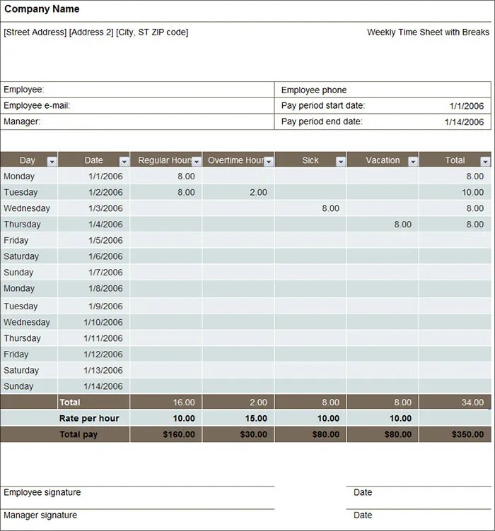 60+ Timesheet Templates - Free Sample, Example, Format Free