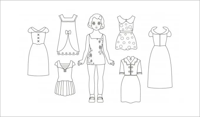 barbie clothes template printable  printable paper doll