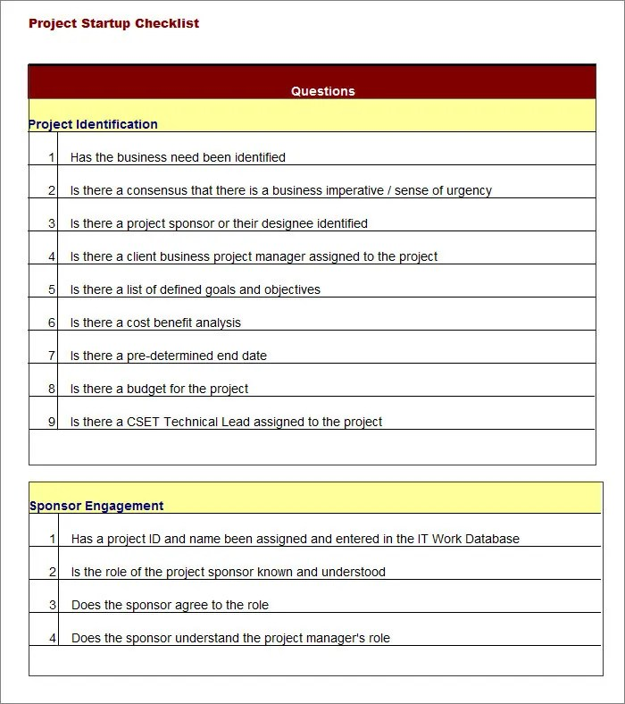 Task List Templates - project to do list templates