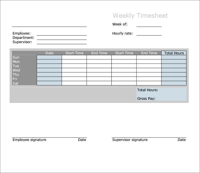 60+ Sample Timesheet Templates - PDF, DOC, Excel Free  Premium - free timesheet forms