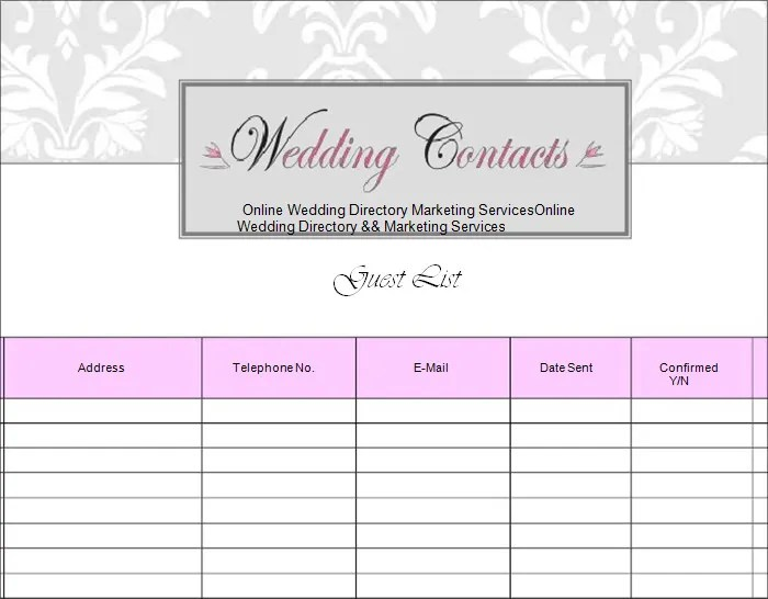 Wedding Guest List Template - 6+ Free Sample, Example, Format Free - sample wedding guest list