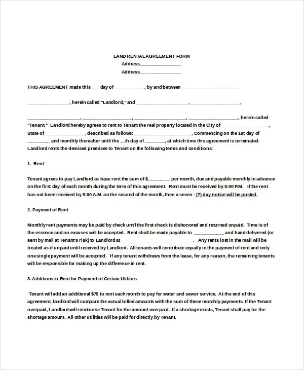 Rental Agreement Form u2013 12+ Free Word, PDF Documents Download - free tenant agreement