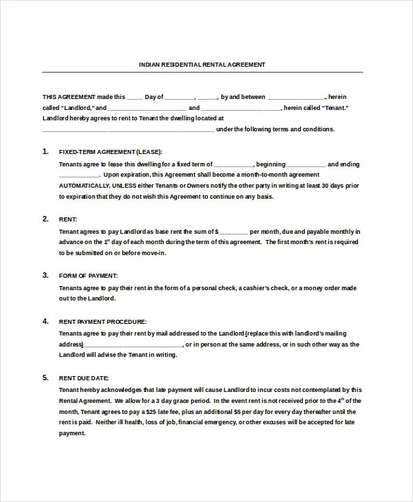 Residential Rental Agreement \u2013 15+ Free Word, PDF Documents Download
