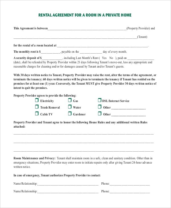 Room Rental Agreement Template \u2013 11+ Free Word, PDF Free Download