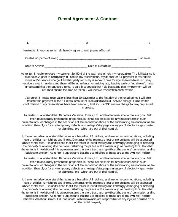 35+ Simple Rental Agreement Templates - PDF, Word Free  Premium - Free Rent Lease Agreement