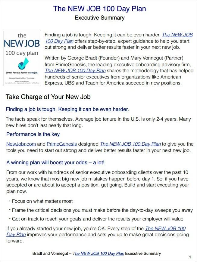 100 day plan new job template - Maggilocustdesign