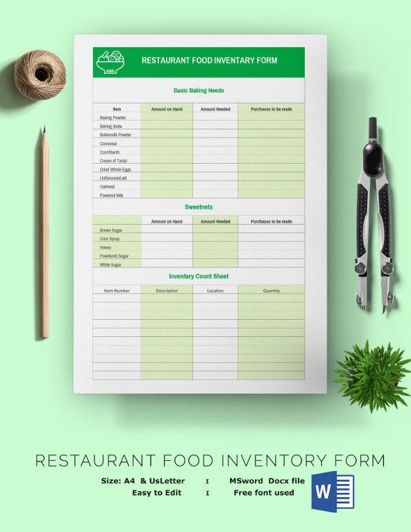 restaurant inventory template