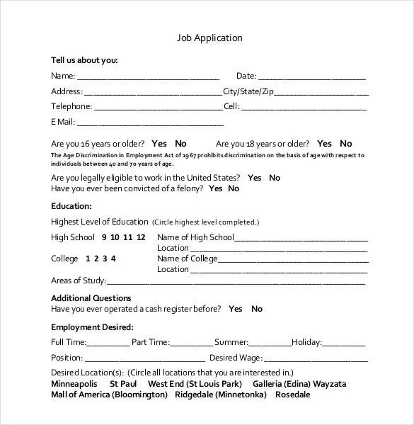 21+ Employment Application Templates - PDF, DOC Free  Premium