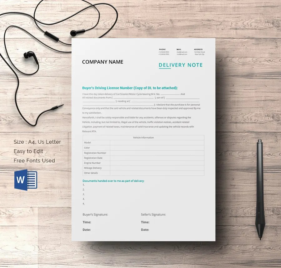 25+ Delivery Note Templates - PDF, DOC Free  Premium Templates