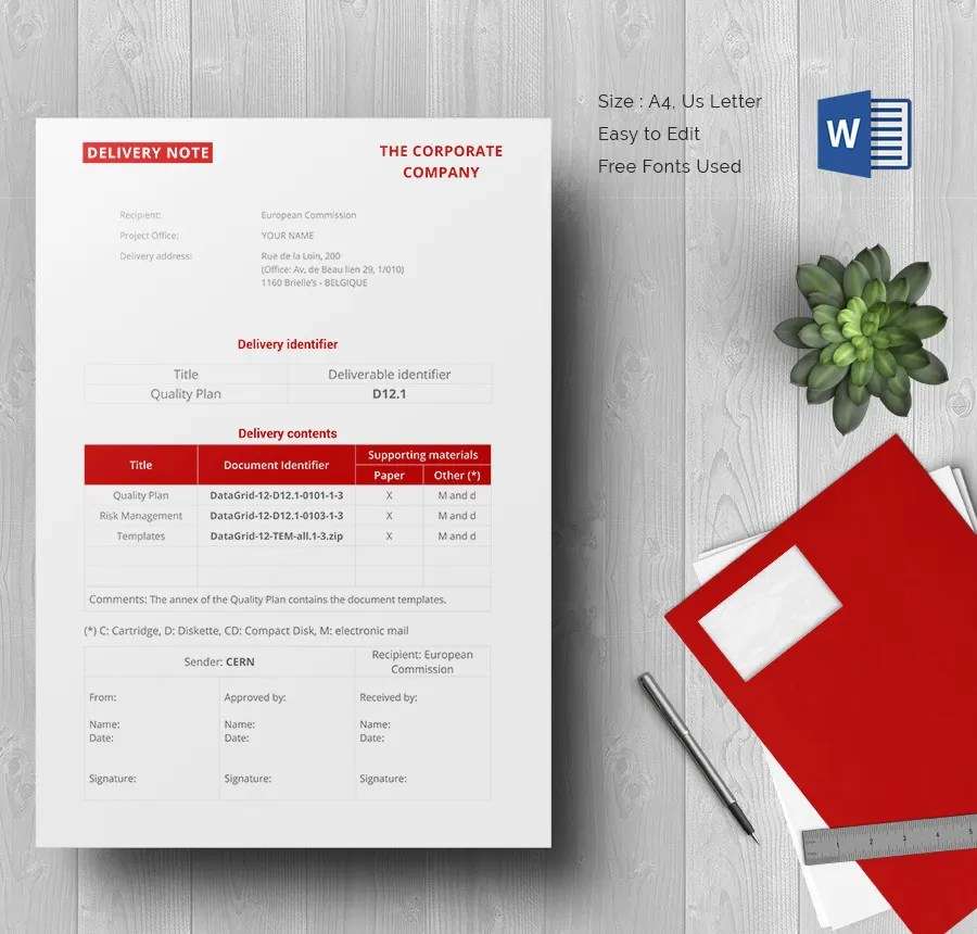 25+ Delivery Note Templates - PDF, DOC Free  Premium Templates - sample delivery note template