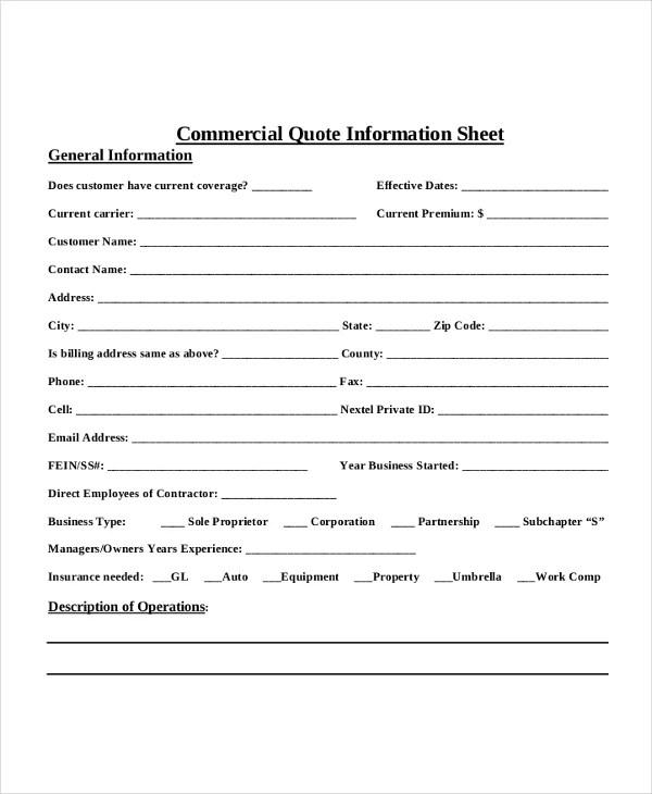 7+ Quote Sheet Template - Word, PDF Free  Premium Templates