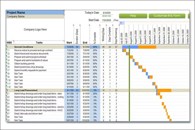 Construction Schedule Templates u2013 12+ Free Word, Excel, PDF Format - construction schedules templates