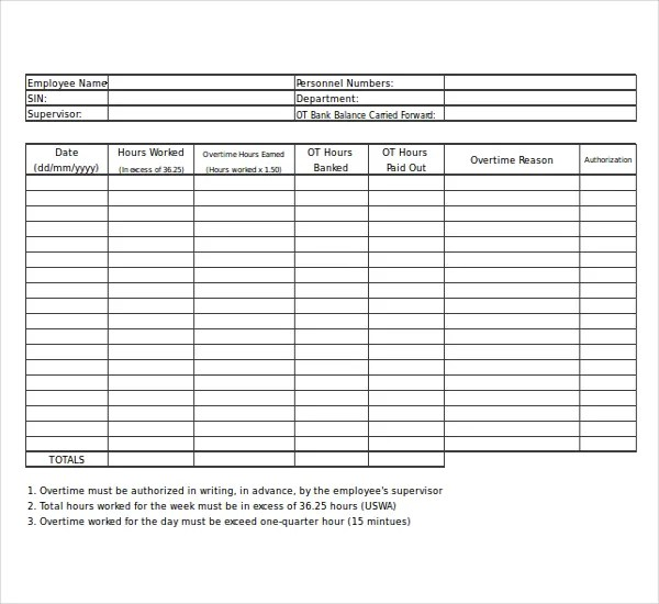 21+ Overtime Sheet Templates \u2013 Free Sample, Example Format Download