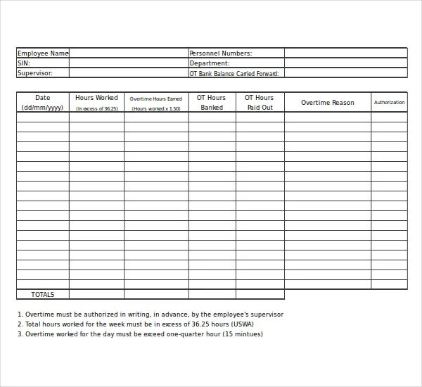 sample of overtime form