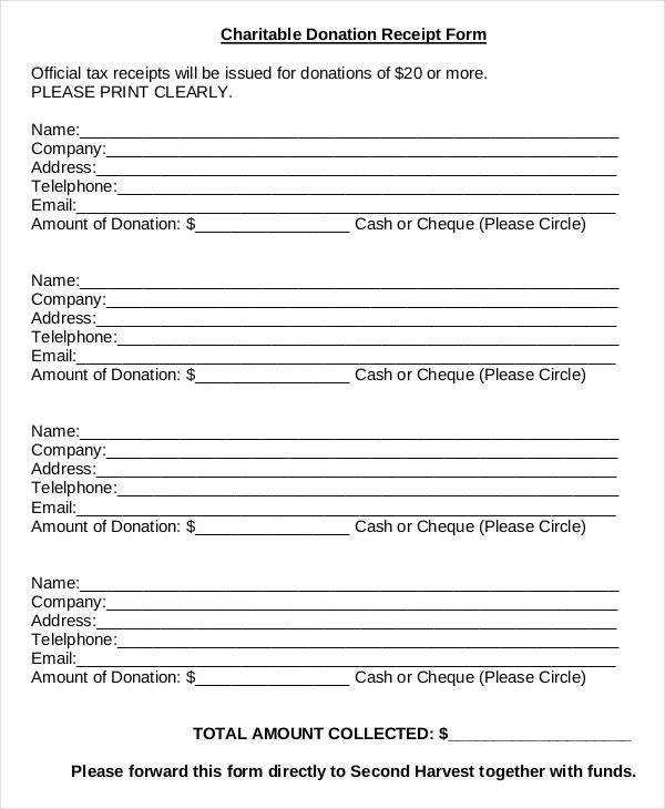 charitable contribution form template