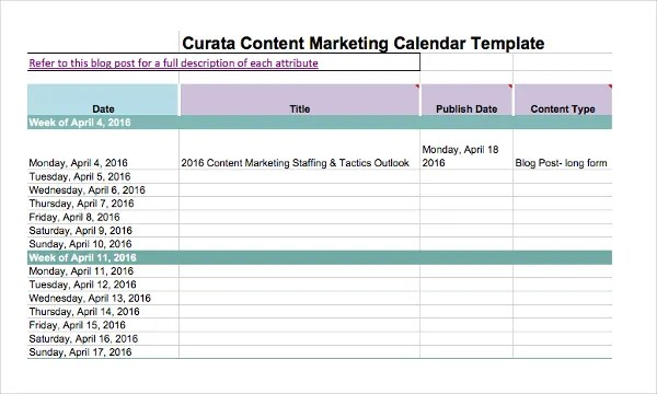 Marketing Calendar Template - 3 Free Excel Documents Download Free - sample marketing schedule